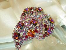 FAB FAB FABulous Vintage 50's Red Reverse Crystal AB Rhinestone Leaf Brooch 17O6