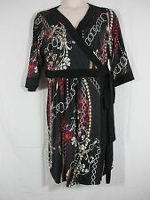 64a42bb8cad57 Melissa Masse Classic Wrap Dress Black Multi Color Marsala Figaro Pearl Plus  3x