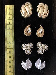 4 Paar Designer Clips Silber Gold Oversize Chunky Coro Trifari Grossé
