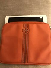 Tory Burch Tablet Ipad Case Sleeve Orange Gray Stripe Logo