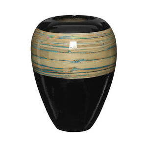 Complements Bamboo Vase Black/Natural 30 Dia X 40Cm