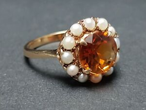 BEAUTIFUL SECONDHAND 9ct YELLOW GOLD PEARL AND CITRINE  CLUSTER RING SIZE K 1/2