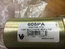 "PTO Adapter 1 3/8"" 6 Spline X 15/16"" Valley Industries # 605PA 1/4"" Key New"