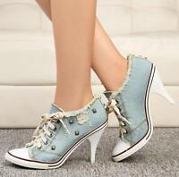 New Womens Denim Canvas Rivet High Heel Stilettos Lace Up Sneakers Shoes pumps