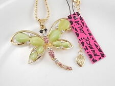 Betsey Johnson fashion jewelry Green Cat 's Eye Dragonfly pendant necklace #B115