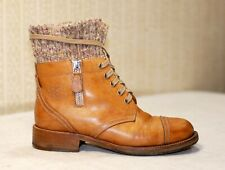 2000$ CHANEL brown lace up knit sock zip ankle combat boots 36.5-36 us6 uk3-3.5