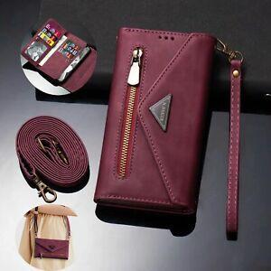 Crossbody Strap Leather Zipper Wallet Flip Case For Samsung S21 Plus S10 A21S S9