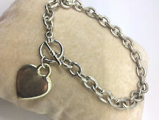 "925 Sterling Silver- 8"" Circle Link Toggle Bracelet with Heart Charm  22.4g #929"
