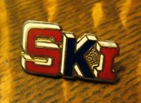 Vintage Ski Lapel Pin - 1970's Red White Blue USA Skier Team Snow Mountain Badge