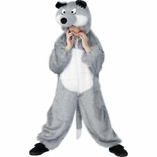 KJids Grey Furry Wolf Animal Jumpsuit Boys Girls Childs Fancy Dress Costume