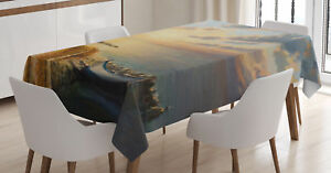 Art Tablecloth Romantic Sunrise by Sea Rectangular Table Cover 52 X 70 Inches