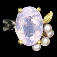 Handmade Oval Lavender Amethyst 18x12mm Pearl 925 Sterling Silver Ring Size 10