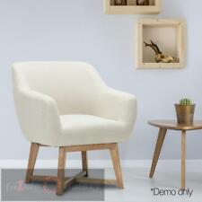 Tub Chair Armchair Solid Wood Lounge Single Sofa Accent Fabric Retro Beige