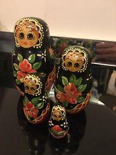 Russian Doll Four Piece Set Hand Painted Multicolour Vintage Art Decoration USSR