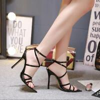 New Womens Lace Up Ankle Strap Sandals Ladies Stilettos Peep Toe Shoes Q