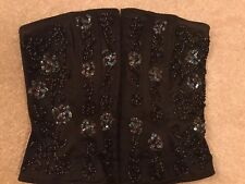 Warehouse Ladies Boned Strapless Basque Bustier Sequin Black Top. Size 8