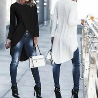 Cross Shirt Blouse T-Shirt High Womens Tunics Low Tops Long Asymmetrical Sleeve