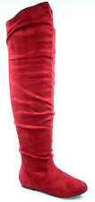 Women's Flat Round Toe Vickie-HI Faux Suede Slouchy Thigh High Boot Size 6 - 11