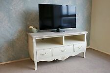 Devon TV Cabinet Stand in French Style Shabby Chic with Cream Painted Finish