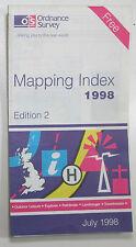 Old vintage OS Ordnance Survey Mapping Index July 1998 - Edition 2