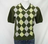 Neiman Marcus 100% Cashmere Short Sleeve Argyle Sweater Green Women's Large