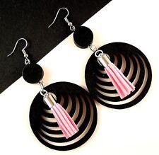 Black Lightweight Wood Filigree Earrings with Faux Suede Pink Tassels #1689