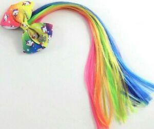 """Jojo Hair Clip with 14"""" Faux Rainbow Hair & Unicorn Bow"""