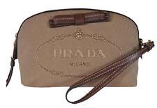 New Prada Women's Brown Canvas 1NE010 Contenitore Small Cosmetic Bag Wristlet