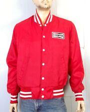 vtg 70s 80s retro Champion Spark Plugs Racing Jacket Snap Front Satin ringer L