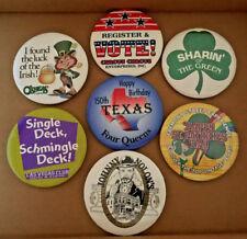 New listing Casino Pin Back Buttons Badge O'Sheas Four Queens Las Vegas Club Vote! Circus C