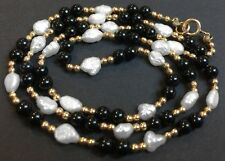 BAROQUE FRESHWATER PEARL, GOLDTONE OR BRASS & BLACK ONYX BEAD NECKLACE