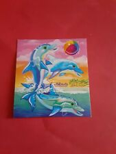 "Lisa Frank dolphins sticker 2""x 2""(free ship $20 min)"