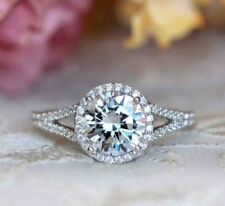 Certified 2.45Ct White Round Cut Wedding Engagement Bridal Ring in14K White Gold