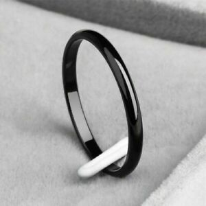 Women Girl 2mm Thin Stackable Ring Stainless Steel Plain Band for Gift Size 3-10
