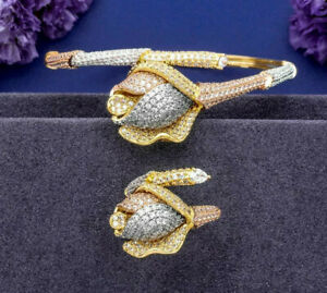 3 Tone Rose Flower Shape Cubic Zirconia Women's Fashion Bracelet & Ring Set-New
