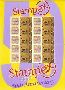 2003 GB. SMILER BUSINESS SHEET - STAMPEX - TEDDY BEARS - UNMOUNTED MINT.