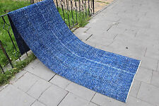 "Vintage Handmade Turkish Anatolian Blue Overdyed Runner Rug Carpet 114""x35"""