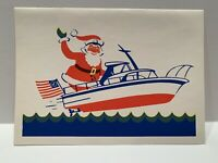 Christmas Greeting Card ART vintage Nautical Santa Speed Boat Patriotic NEW MCM