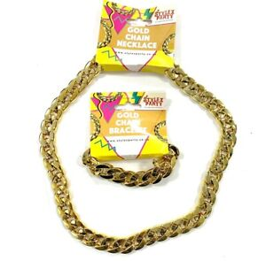 Gold Chain Gangster Fancy Dress Necklace or Bracelet Chunky Accessory Jewellery