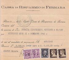10 cent Imperiale-Uso fiscale con Marche da bollo su ricevuta di pagamento 1945