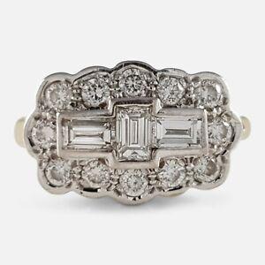 18ct Gold 0.90ct Diamond Cluster Plaque Ring