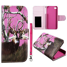 Pink  Deer camo Wallet P Leather Flip R Strip for Apple Iphone SE Case Cover