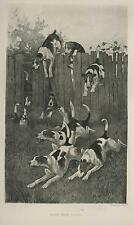 New listing ANTIQUE ENGLISH FOX HUNT HUNTING HOUND DOGS RUNNING CHASE JUMPING FENCE  PRINT