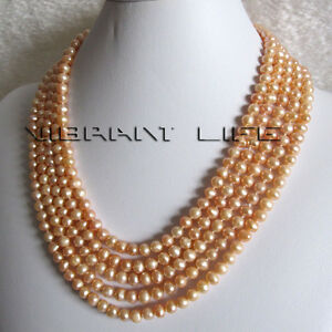 """100"""" 4-6mm Peach Pink Freshwater Pearl Necklace Strands No Clasp Natural Color"""
