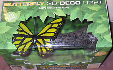 YELLOW BUTTERFLY on Tree branch 3D Deco Wall LED Night LIGHT FX Girls Room Decor