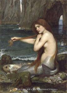 """A Mermaid"",  John William Waterhouse,  Reproduction in Oil,  48""x33"""