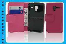 Rosa De Cuero Cartera Bolsa Flip Funda Protectora Para Samsung Galaxy Ace 2 Gt-i8160
