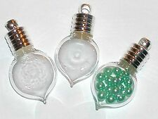 1 Glass Heart bottle Pendant Vials charm hand blown lampwork necklace bead tiny