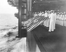 US Navy WW2 Photo, WWII Burial at Sea USS Intrepid World War Two USN Pacific
