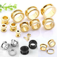 Punk Stainless Steel Barbell Ear Plug Flesh Tunnel Earlets Stretcher Expander